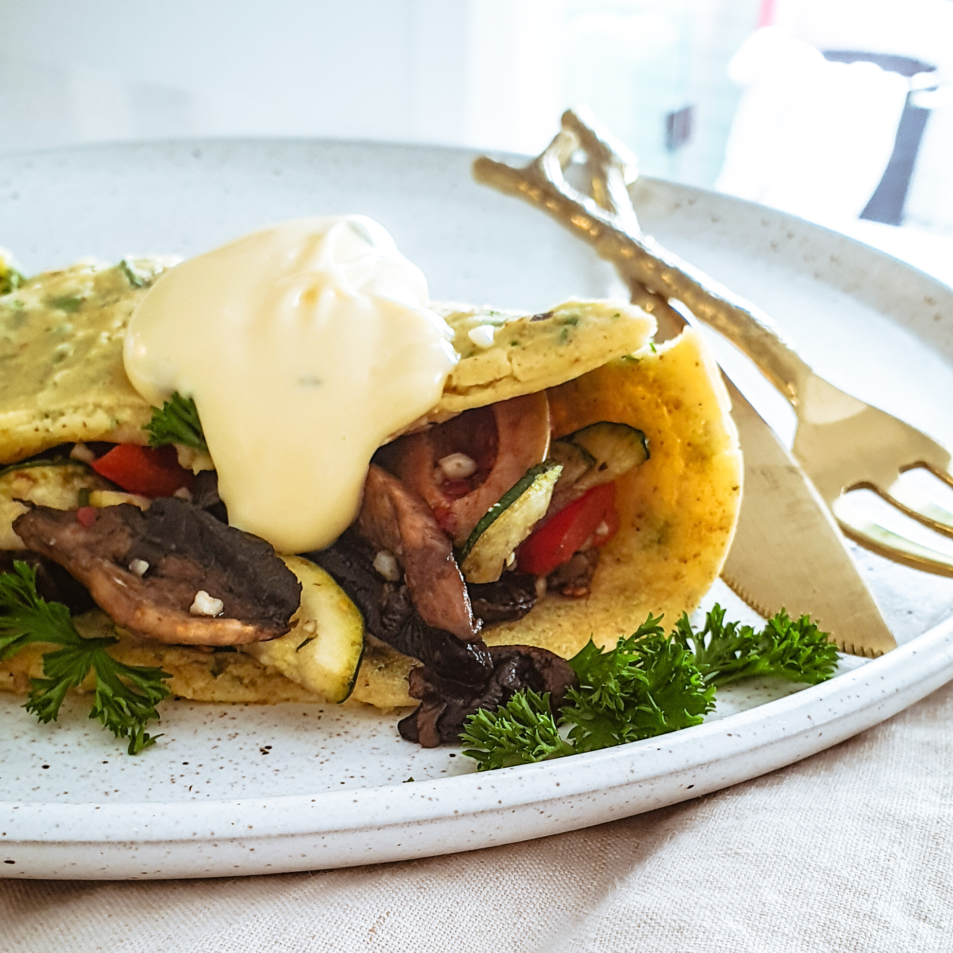 Savoury Crepes & Hollandaise