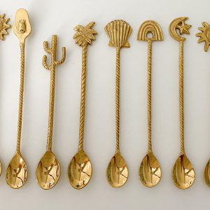 8 piece brass teaspoon collection