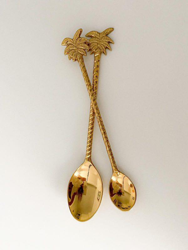 island palm brass teaspoon dessert spoon