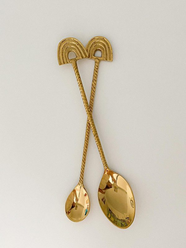 rainbow brass spoons teaspoon and dessert spoon