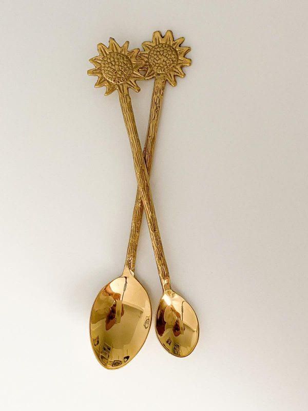 sunflower brass teaspoon dessert spoon